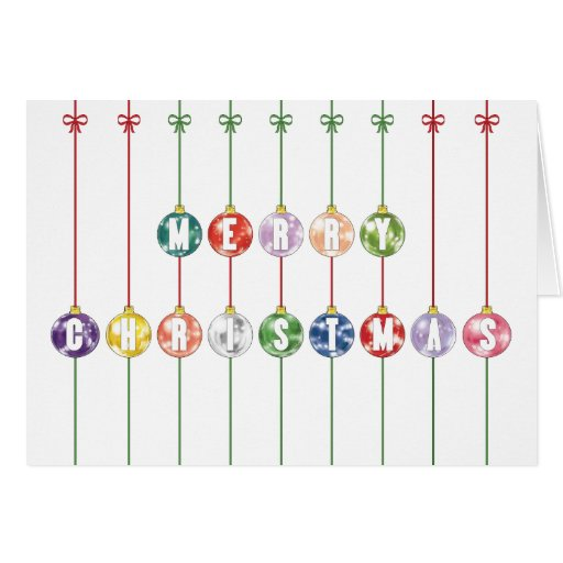 Merry Christmas Multicolored Glass Ball Ornaments Greeting Cards