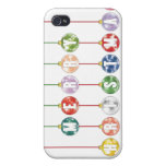 Merry Christmas Multicolored Glass Ball Ornaments Cases For iPhone 4