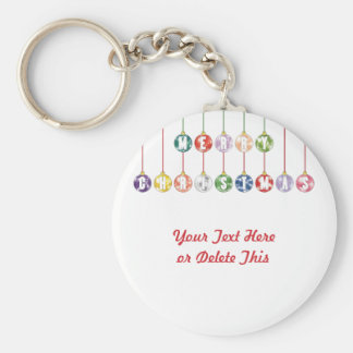 Merry Christmas Multicolored Glass Ball Ornaments Basic Round Button Keychain