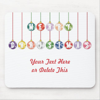 Merry Christmas Multicolored Glass Ball Ornaments Mouse Pad