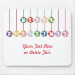 Merry Christmas Multicolored Glass Ball Ornaments Mouse Pads