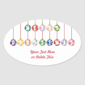 Merry Christmas Multicolored Glass Ball Ornaments Oval Sticker