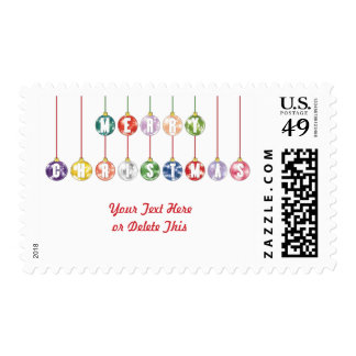 Merry Christmas Multicolored Glass Ball Ornaments Postage