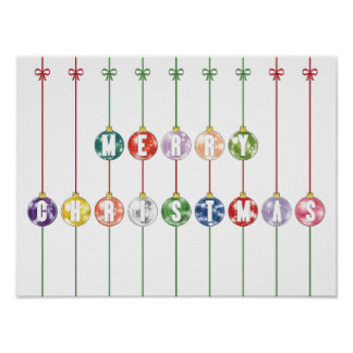 Merry Christmas Multicolored Glass Ball Ornaments Print
