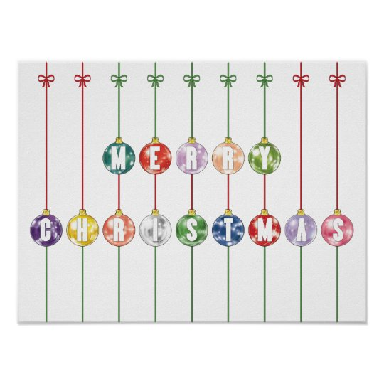 Merry Christmas Multicolored Glass Ball Ornaments Poster