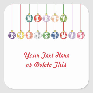Merry Christmas Multicolored Glass Ball Ornaments Square Sticker