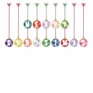 Merry Christmas Multicolored Glass Ball Ornaments Statuette