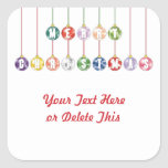 Merry Christmas Multicolored Glass Ball Ornaments Stickers