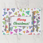 """[ Thumbnail: """"Merry Christmas!""""; Multicolored Triangles Pattern Paper Placemat ]"""