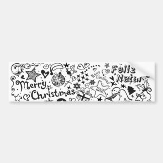 Merry Christmas Multiple Languages Car Bumper Sticker