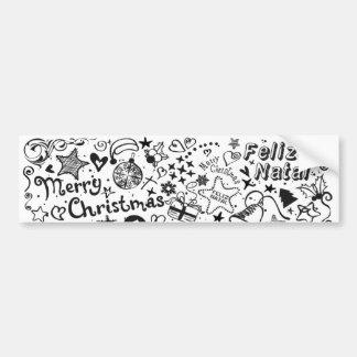 Merry Christmas Multiple Languages Car Bumper Sticker