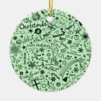 Merry Christmas Multiple Languages Ceramic Ornament