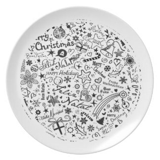 Merry Christmas Multiple Languages Plate