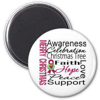 Merry Christmas Multiple Myeloma Ribbon Collage Magnets