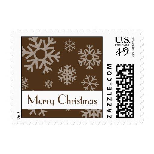 Merry Christmas Multiple Snowflake Stamp (Brown)