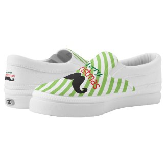 Merry Christmas Mustache Printed Shoes