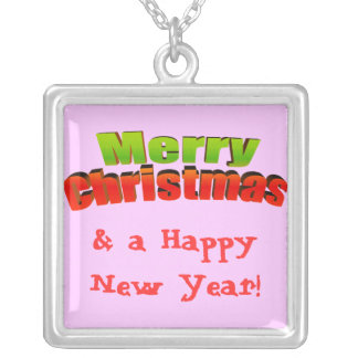 Merry Christmas n Happy New Year! Customize Me! Square Pendant Necklace