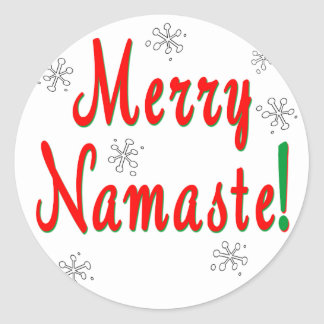 Merry Christmas Namaste Gifts Round Stickers