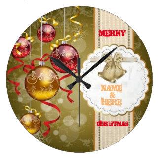 Merry christmas _Name &Here_reloj Large Clock