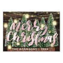 Merry Christmas Name Tree Wood Lights Cottage Invitation