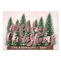Merry Christmas Name Tree Wood Lights Pink Glitter Invitation