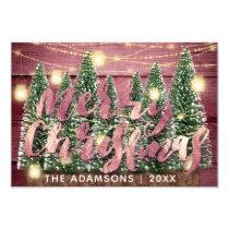 Merry Christmas Name Trees Wood Lights Cottage Invitation