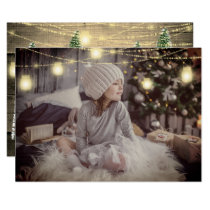 Merry Christmas Name Trees Wood Lights Sepia Gold Invitation