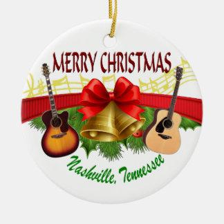 Merry Christmas Nashville Round Ornament