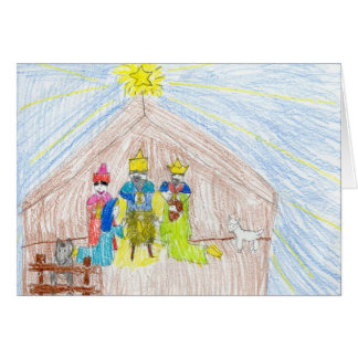 Merry Christmas Nativity Colored Pencil Drawing Card