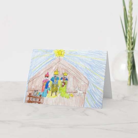 Merry Christmas Nativity Colored Pencil Drawing Holiday