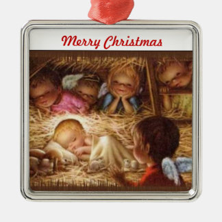 Merry Christmas Nativity Metal Ornament