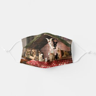 Merry Christmas Nativity Scene in Cathedral Cloth Face Mask