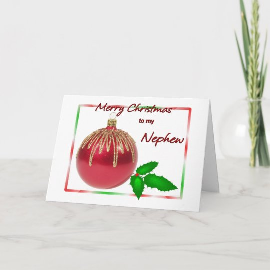 Merry Christmas Nephew.Merry Christmas Nephew Red And Gold Ball With Holl Holiday Card