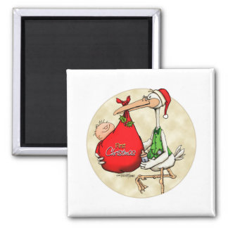 Merry Christmas - New Baby 2 Inch Square Magnet