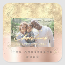 Merry Christmas New Sepia Gold Glitter Photo Blush Square Sticker