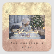 Merry Christmas New Sepia Gold Glitter Photo Peach Square Sticker