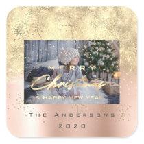 Merry Christmas New Sepia Gold Glitter Photo Spark Square Sticker