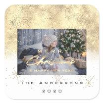 Merry Christmas New Sepia Gold Glitter Photo White Square Sticker