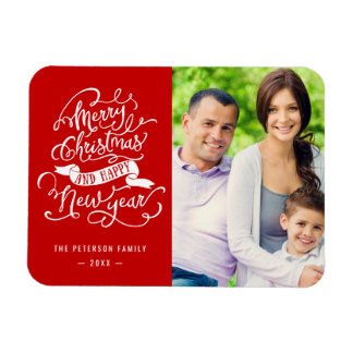Merry Christmas New Year Calligraphy Script Photo Magnet