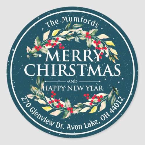 Merry Christmas New Year Floral Red Berry Address Classic Round Sticker