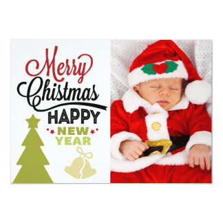Merry Christmas New Year Photo Typography Card Personalized Announcement