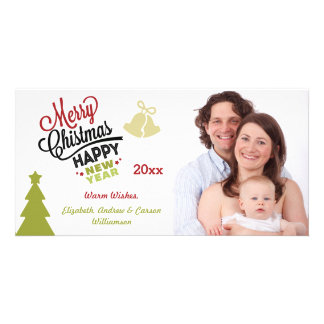 Merry Christmas New Year Typography Photo Greeting Card