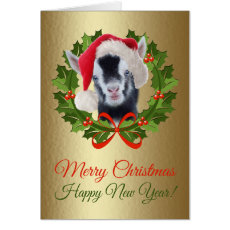 Merry Christmas Newborn Pygmy Goat Kid Painting Card