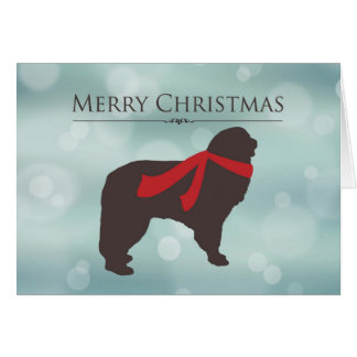 Merry Christmas, Newfoundland in Red Scarf, Bokeh Card