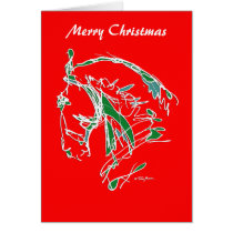 Merry Christmas Noble Face Card Red