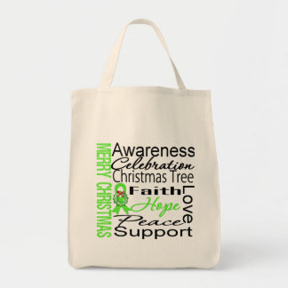 Merry Christmas Non-Hodgkins Lymphoma Ribbon Tote Bag