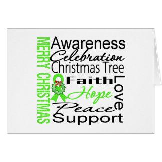 Merry Christmas Non-Hodgkins Lymphoma Ribbon Greeting Card