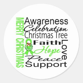 Merry Christmas Non-Hodgkins Lymphoma Ribbon Round Stickers