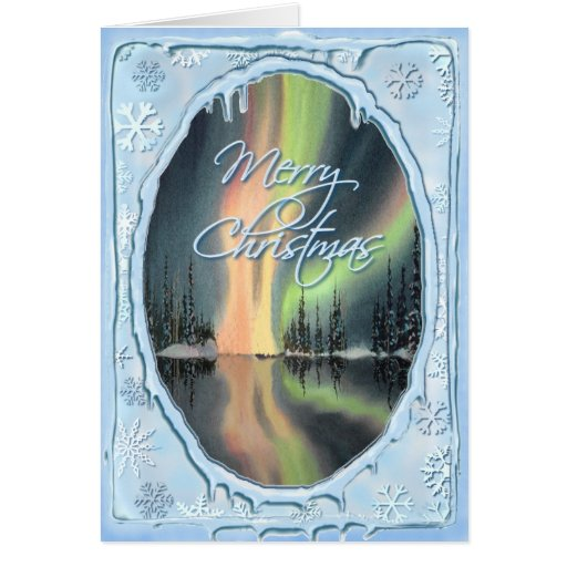 MERRY CHRISTMAS NORTHERN LIGHTS by SHARON SHARPE Cards