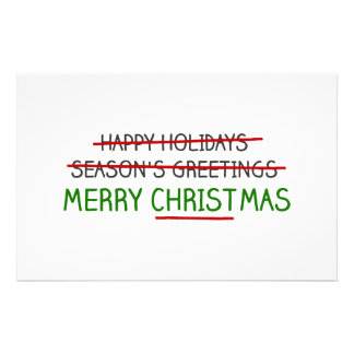 Merry Christmas, Not Season's Greetings Personalized Stationery